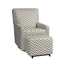 Upholstered Glider With Ottoman Chevron Zigzag Gray And White Stripe Swivel Glider And Ottoman