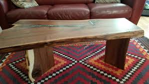 live edge table with turquoise inlay coffee and occasional tables boulder furniture arts