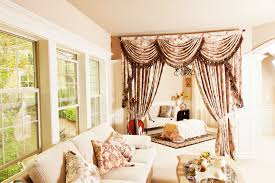 floral patterned room divider curtains with swag style valance of