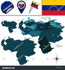 Map Of Venezuela Vector Map Venezuela Named States Travel Stock Vector 471329672