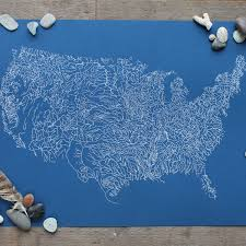 United States Map Poster by Rivers Of America Map Poster Print Screenprint River Map Of