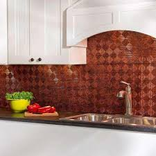 Copper Kitchen Backsplash Fasade Moonstone Copper Tile Backsplashes Tile The Home Depot