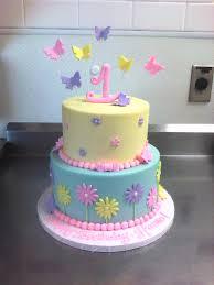 1st Birthday Cake 1st Birthday Cake With Butterflies U0026 Flowers Main Made Custom Cakes