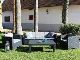 salon de jardi salon jardin ii pas cher résine moulée grise 3 1 1 table