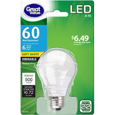 great value led light bulb 6w 60w equivalent dimmable soft