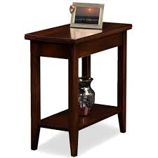 glossed chocolate wood small side table with shelves for grey