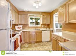 new kitchen cabinets with white appliances stock photo image