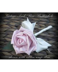 wedding flowers buttonholes vintage pink artficial buttonhole for groom bestman