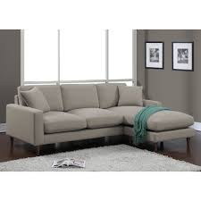 light gray linen fabric sectional sleeper sofa with track armrest