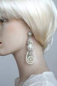 and pearl chandelier earrings bridal chandelier earrings ivory pearls wedding