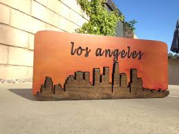 downtown los angeles city scape made wood sign wood wall