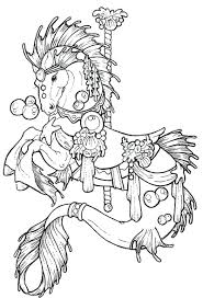 free printable horse coloring pages adults advanced carousel