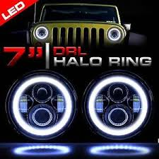 led jeep wrangler headlights led headlight black vader set with halo rings for jeep wrangler jk