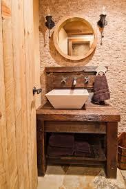 Rustic Bathroom Mirrors - rustic bathroom sink powder room rustic with towel ring round wall