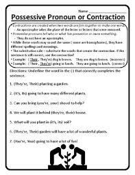 possessive pronoun or contraction worksheet possessive pronouns or