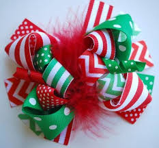 christmas hair bows white green christmas chevron loopy hair bow