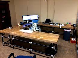 Long Gaming Desk by Brown Wooden Butcher Block Desk In A Long Design Furniture