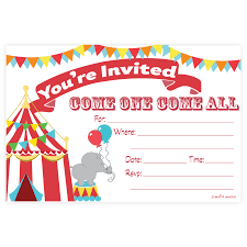 carnival party fill in invitations circus birthday or baby shower
