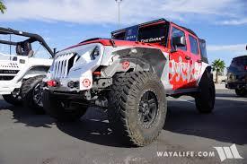 dark gray jeep 2017 sema topfire red jeep jk wrangler unlimited