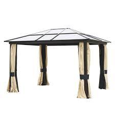 Outdoor Mesh Curtains Outsunny 12 U0027x10 U0027 Outdoor Gazebo Canopy W Mesh Curtains