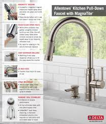 Faucets For Kitchen Sinks by Delta Allentown Single Handle Pull Down Sprayer Kitchen Faucet
