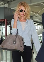 rosie huntington side parted lob rosie huntington whiteley flawless in double denim after touching
