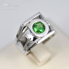 silver ring for men hot sale green lantern emerald 925 sterling silver ring fashion
