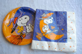 Vintage Halloween Plates by Vintage Snoopy Halloween Party Napkins And Paper Plates Nos From