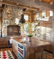 sun warmed modern rustic kitchen full of natural wood u0026 stone