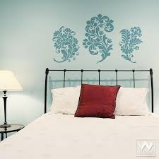 paisley damask vinyl wall decal for floral home decor on bedroom