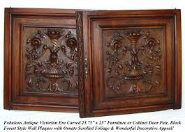 carved cabinet door panels pair antique victorian 25x25 carved wood architectural furniture
