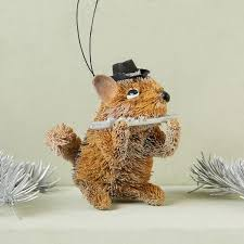 jazzy chipmunk bottle brush ornament west elm