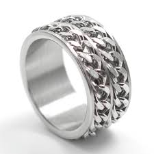 titanium chain rings images Free shipping wide 12mm titanium steel men ring double chain ring jpg