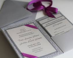 Purple And Silver Wedding Invitations Purple Silver Wedding Invitations Metallic Pocket Fold
