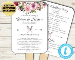 Diy Wedding Fan Programs Wedding Program Fan Template Bohemian Floral Instant