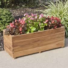 teak rectangular planter outdoor