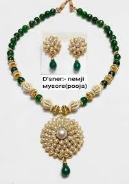 green necklace set images Necklace set green pearls necklace set manufacturer from mumbai jpg