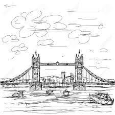 hand drawn illustration of famous tourist destination tower bridge