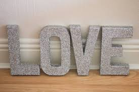 free standing silver glitter letters self standing
