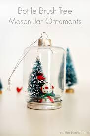 bottle brush tree jar ornaments as the bunny hops
