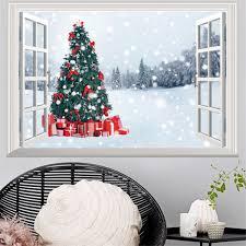 deer home decor 3d window view wall stickers xmas santa claus elk deer decals