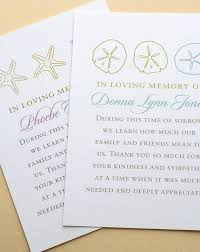 personalized sand dollars funeral thank you cards with starfishes or sand dollars