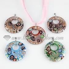glass jewelry necklace images Foil millefiori lampwork murano glass necklace pendant jewelry jpg