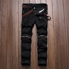 Ripped Knee Jeans Mens Red White Black Ripped Denim Pant Knee Hole Zipper Jeans Men Slim