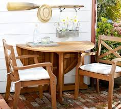 Drop Leaf Outdoor Table Hampstead Teak Round Drop Leaf Dining Table Honey Pottery Barn