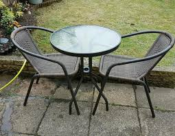 Garden Bistro Table Venice Rattan Effect 3 Garden Bistro Table And Chairs Set