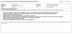 Supervisor Sample Resume by Aluminum Fabrication Supervisor Cv Work Experience Samples