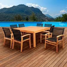 amazonia elliot 9 piece teak square patio dining set with black