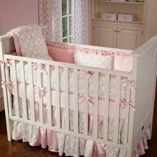 Pink And Black Crib Bedding Sets Pink And Taupe Damask 3 Crib Bedding Set Carousel Designs