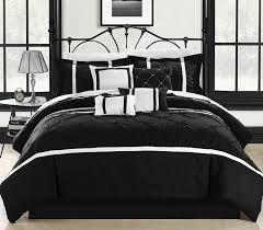 Black And White Bed Sheets Amazon Com Chic Home Vermont 8 Piece Comforter Set King Black